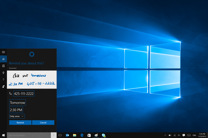 Cortana interface in Windows 10 Start Menu
