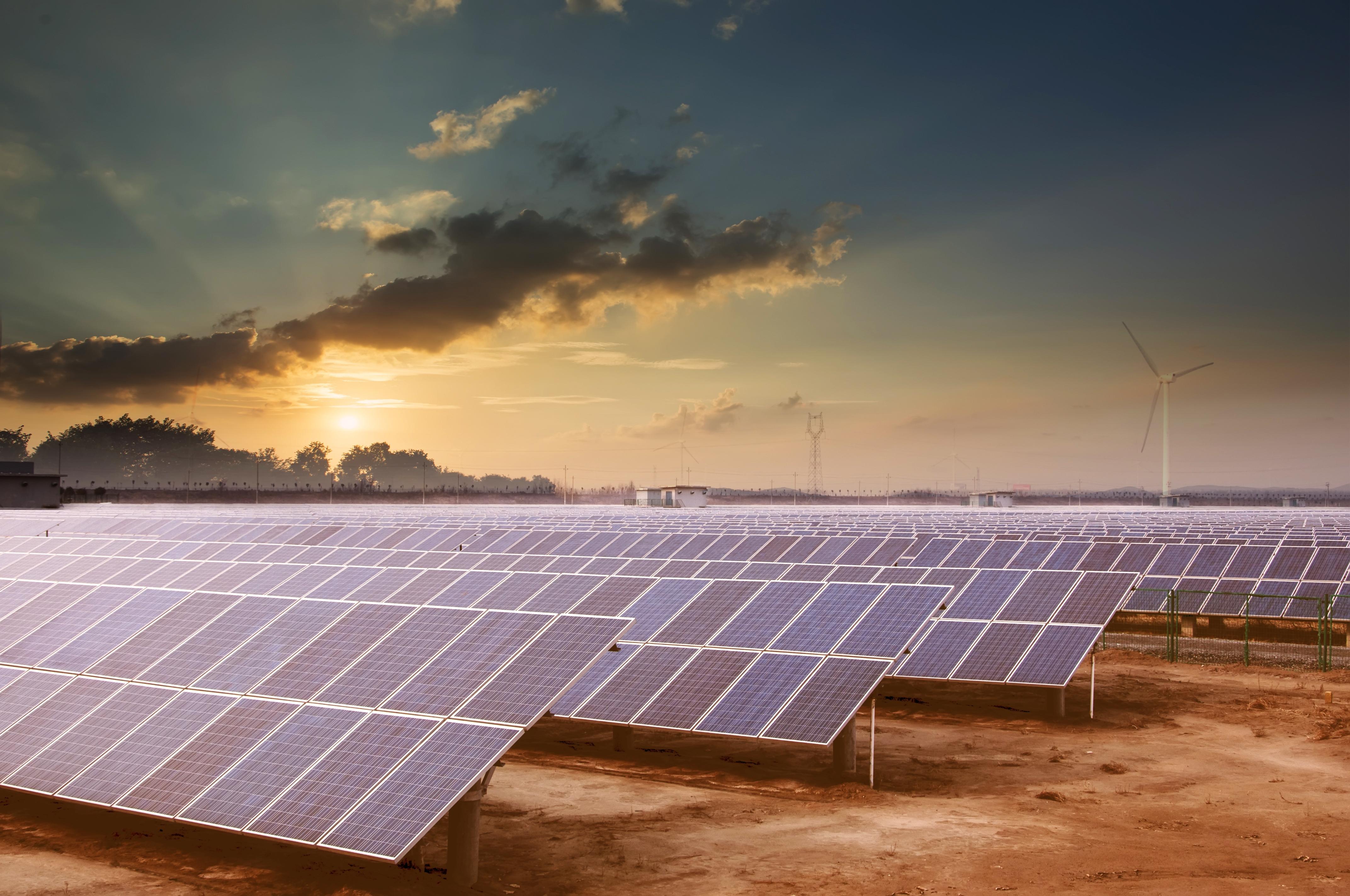 Solar farm at dusk.