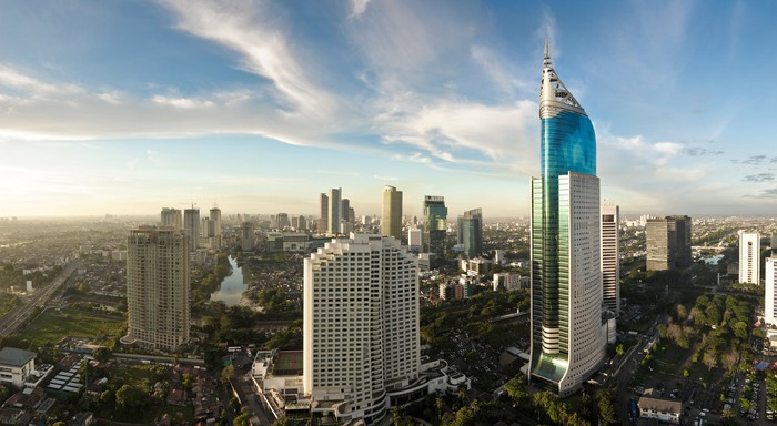 A wide-angle shot of downtown Jakarta.