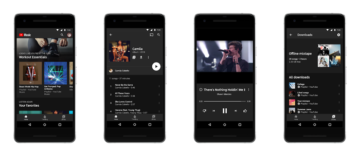 Renderings of the new YouTube Music app