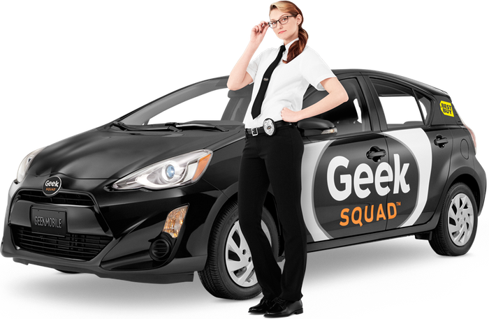 Female Geek Squad member from Best Buy posing next to Geek Squad car