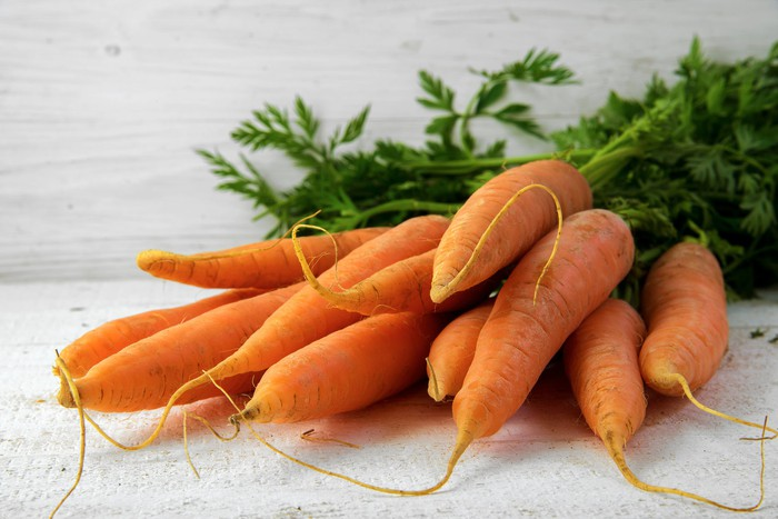 A bunch of organic carrots.