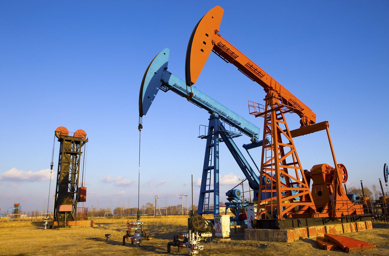 Oil pump jacks in operation.