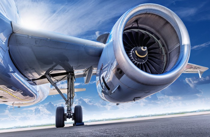 Airplane wing and engine from grounded aircraft.
