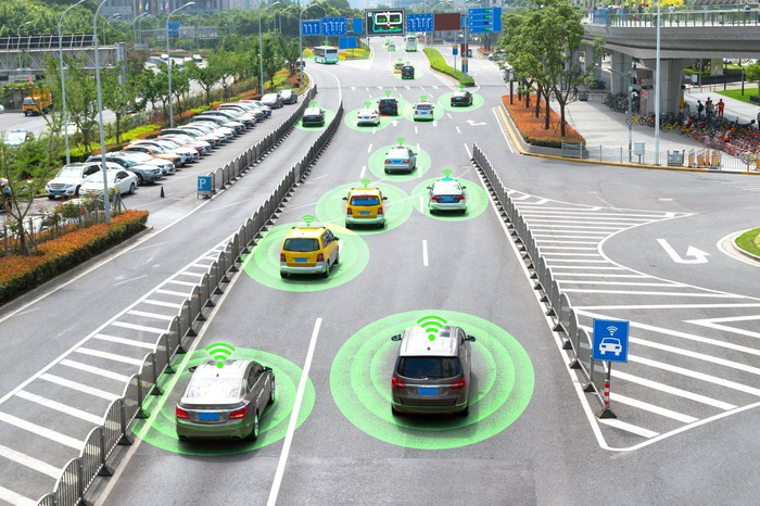 Vehicles on a highway, with a Wi-Fi symbol over and a circle surrounding each vehicle.