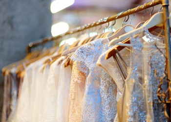 Wedding Style Dresses on Vintage Shopping Rack