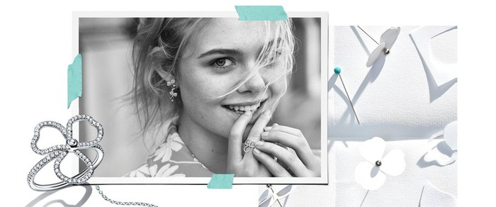 Elle Fanning in Tiffany's Paper Flowers campaign.