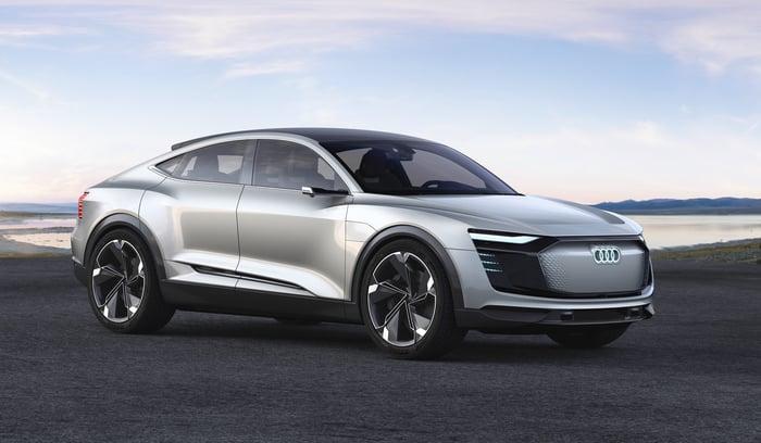 The Audi e-tron Sportback show car, a sedan with a high SUV-like ride and a sleek coupe roofline.
