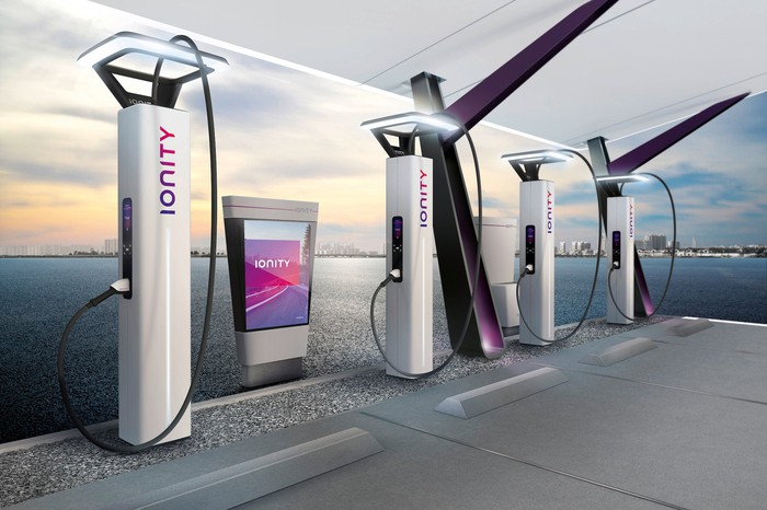 An Ionity charging station, with four chargers visible.