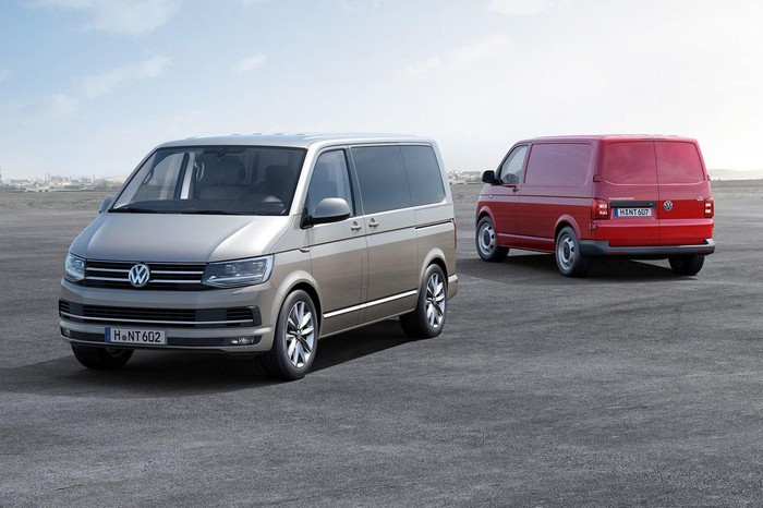 Front and back view of VW T6 Transporter van