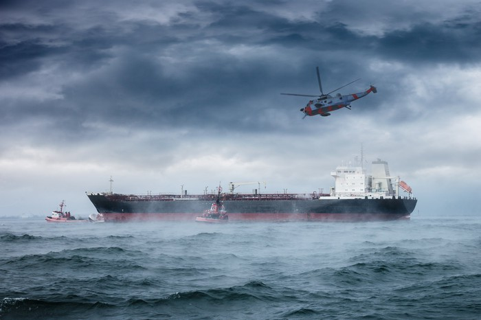 Helicopter and oil tanker