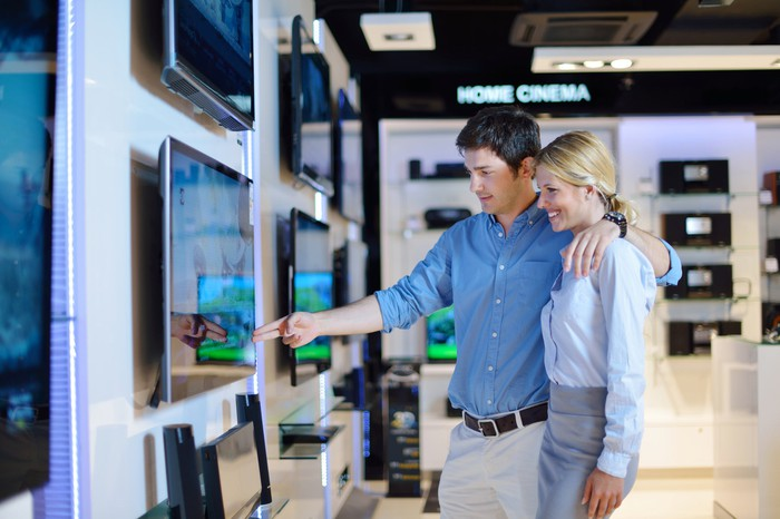 A young couple looking at a TV in a big box electronics store.