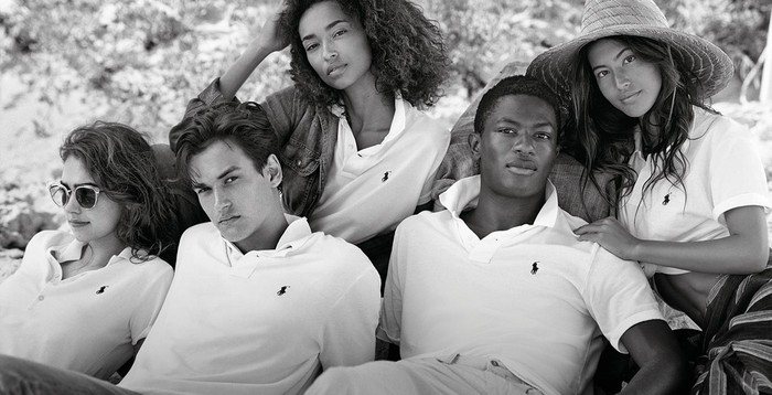 A group of Ralph Lauren models wearing Polo shirts.