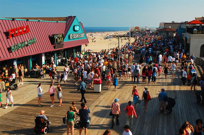 Busy beach boardwalk