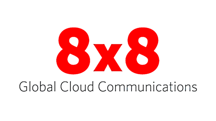8x8 logo with the tagline, Global Cloud Communications.