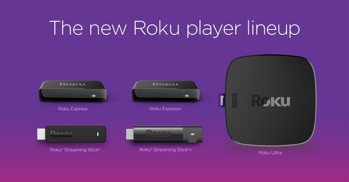 Purple picture with five Roku hardware devices.