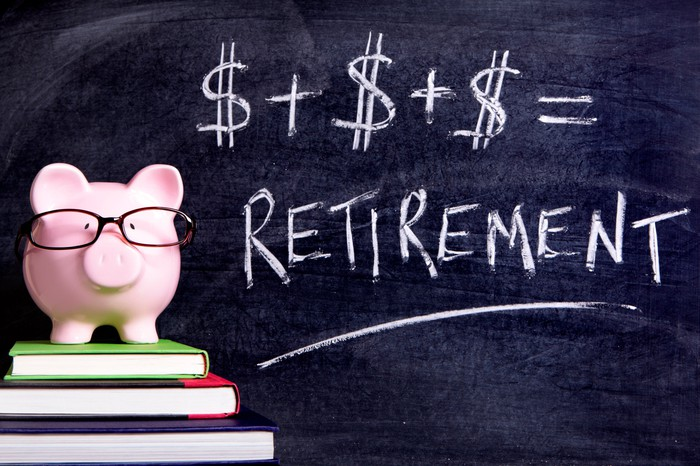 A piggy bank wearing glasses and atop a stack of books in front of a blackboard on which is written that dollar signs added together equal retirement