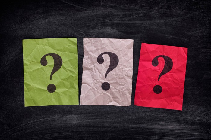 Three question marks on three pieces of colored paper.
