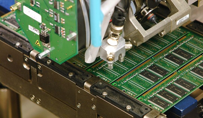 Memory chips being manufactured.
