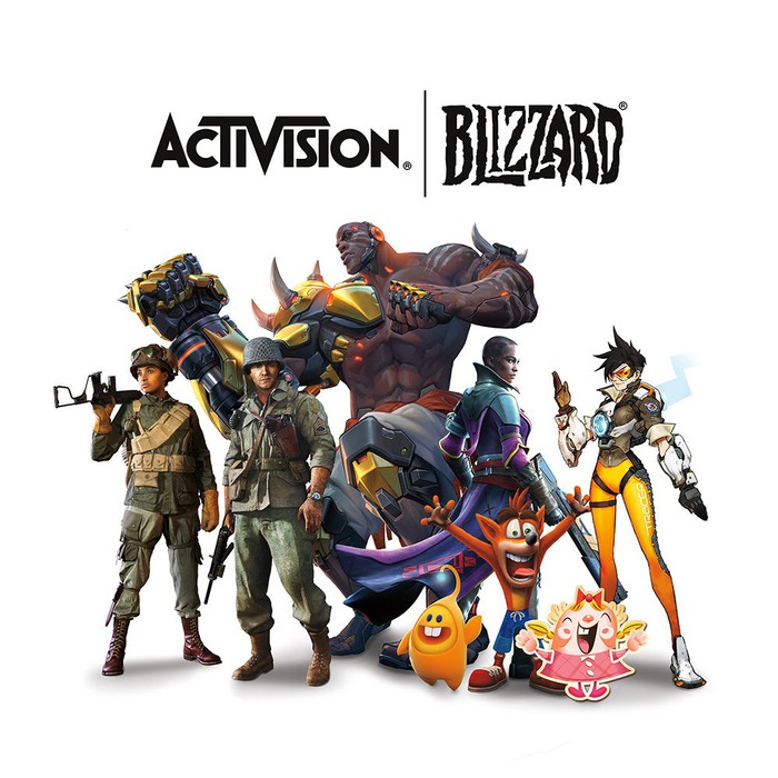 Activision's video game characters posing underneath the Activision Blizzard corporate logo.