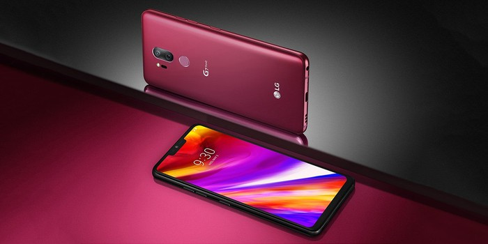 Lg G7 ThinQ on its back and side