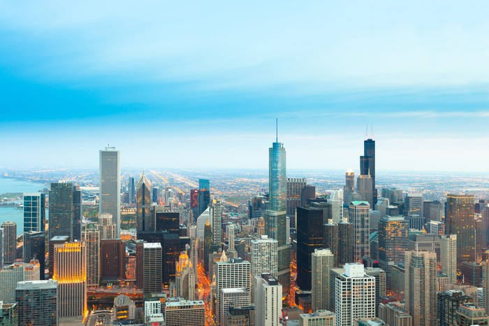 An aerial view of Chicago's skyline.