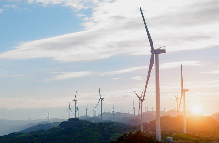 Wind turbines on a mountain.
