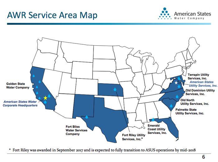 A map of the United States showing American States Water's portfolio, with military contracts extending its reach beyond California.