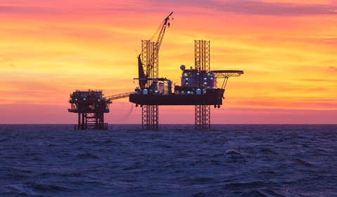 Getty Oil Rig at Sunset