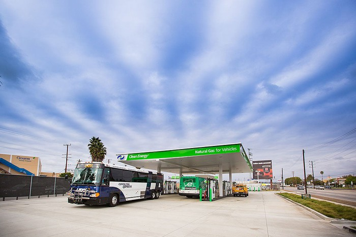 Buses refueling at a Clean Energy Fuels station.
