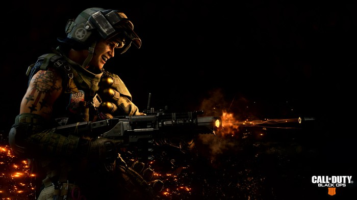 Graphic art of military soldier firing a weapon with the Call of Duty Black Ops 4 logo in the bottom right corner.