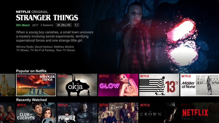 """A screenshot of Netflix's home screen shows different show options, including a banner ad for its hit show """"Stranger Things"""""""