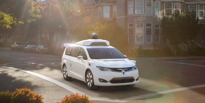 A Chrysler Pacifica Hybrid minivan outfitted with a Waymo self-driving system.