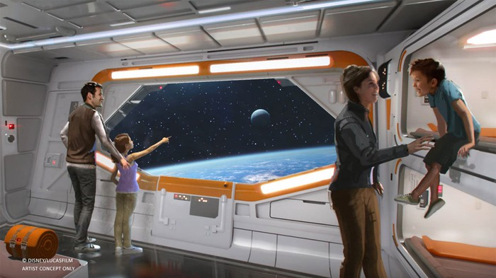 Star Wars Hotel concept art showing a family in a room with bunk beds and a space window.