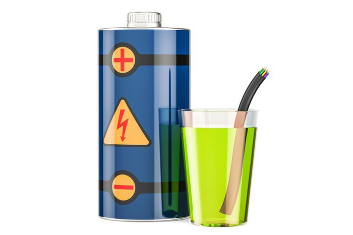 Energy drink illustration with can in the shape and style of a battery.