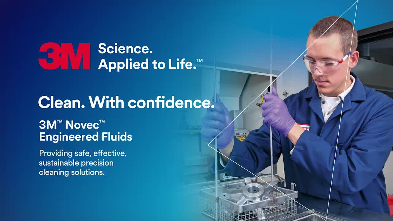 Person in a lab measuring liquids, with advertising copy against a blue background.