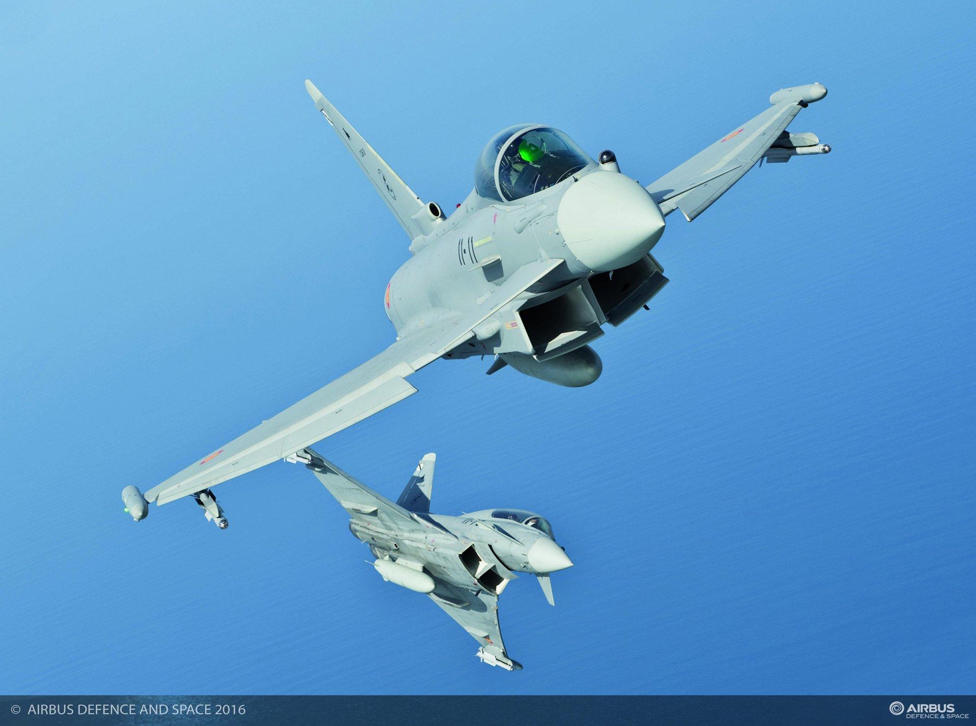 Eurofighters in flight