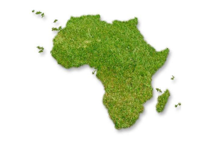 Continent of Africa colored green