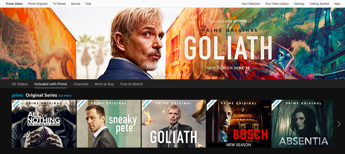 Amazon Prime Video homescreen shows a banner for Goliath