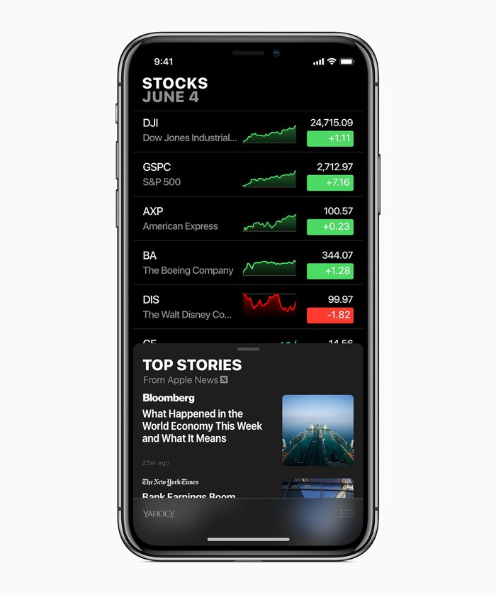 Stocks app in iOS 12 displayed on an iPhone
