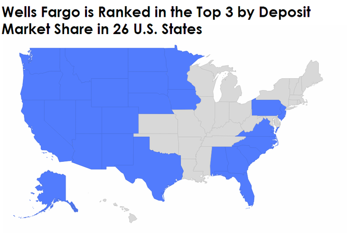 Map of Wells Fargo's deposit market share