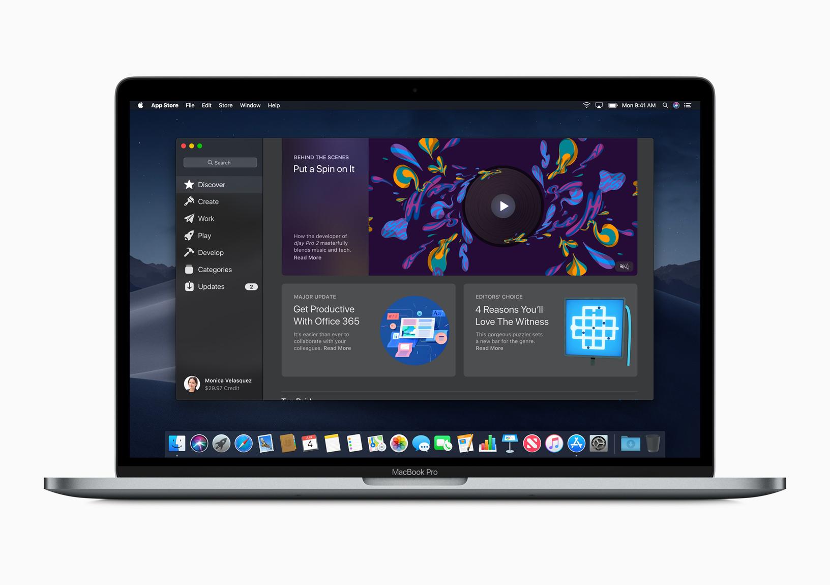 Apple's overhauled Mac App Store on a MacBook Pro