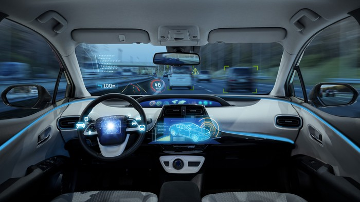 Inside of an autonomous vehicle concept.