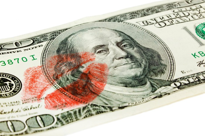 A hundred-dollar bill with a lipstick print