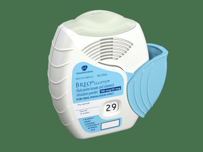A Breo Ellipta inhaler for patient use.