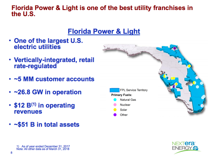 A map showing NextEra Energy's utility operations in Florida