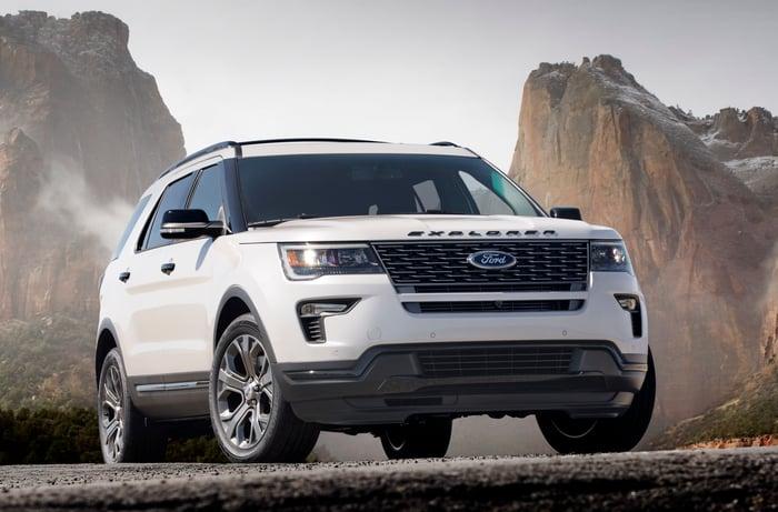 A White 2018 Ford Explorer Midsize Crossover Suv