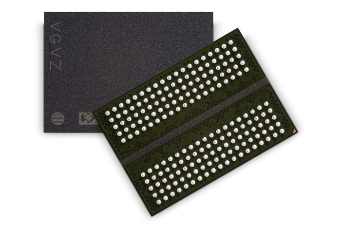 The front and back of two Micron GDDR5X memory chips against a white background.