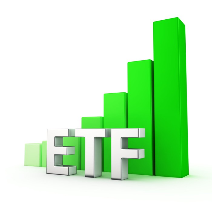 Graph of increasingly large green bars behind white letters spelling ETF.