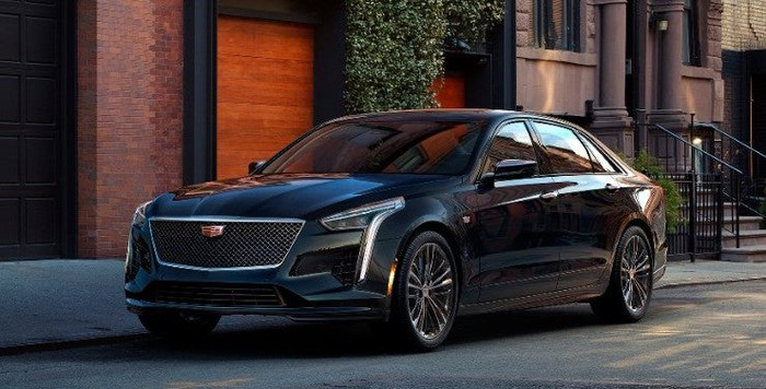A black 2019 Cadillac CT6, a big luxury sedan.